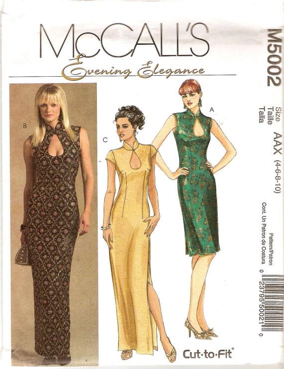 Wiggle Dress Pattern Keyhole Neckline Side Slits Bust 32 McCalls 5002 Sewing Pattern