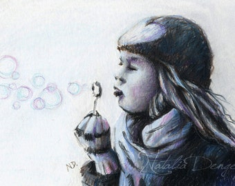 SALE Winter, ORIGINAL Drawing, Little Girl, Bubbles, Heart, Girl, Children, Cold Air, Charcoal Grey, Denim Blue, Hat, Scarf, Special Gift