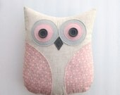 pink owl pillow, decorative owl pillow, animal pillow, pink and grey nursery, pastel pink pillow, gray and pink pillow by whimsysweetwhimsy