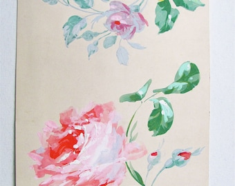 Art Nouveau French Painting, Pink Roses, Yellow Roses, Valentines Gift, Gauche Paint with Pencil, Hand Painted on Paper, Feminine