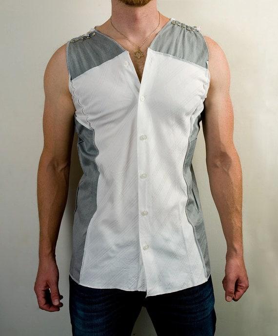 Futuristic sleeveless dress shirt in gray and white