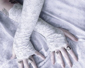 Lace Arm Warmers in White | Brionne | Floral Snow Gloves | Wedding Bridal Bridesmaid Victorian Woodland Gothic Belly Dance Mori Lolita Goth
