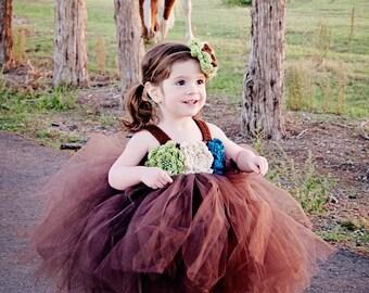 Toddler Tutu Dress Brown Green Blue Baby GIrl Tutu Dress Newborn Tutu Dress Toddler Tutu Dress Pageant Tutu Dress Baby Tutu Dress