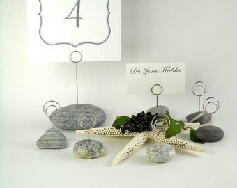 6 Place Card Holders & 1 Menu/Table Number Holder Set Using Maine Beach Stone