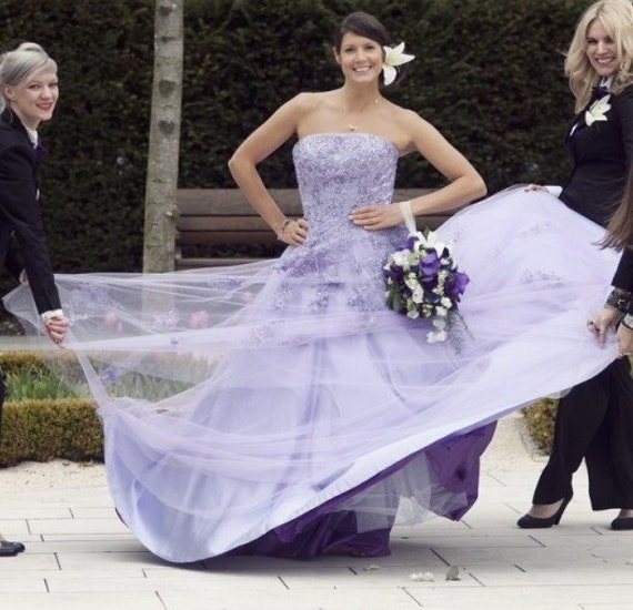 Lilac Wedding Dress Strapless with Lace A-line Colorful