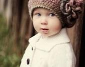 CROCHET HAT PATTERN: Crochet Beret, Crochet Flower, Autumnal Accessories