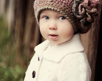 CROCHET HAT PATTERN: Crochet Beret, Crochet Flower, Winter Accessories, Toddler to Adult