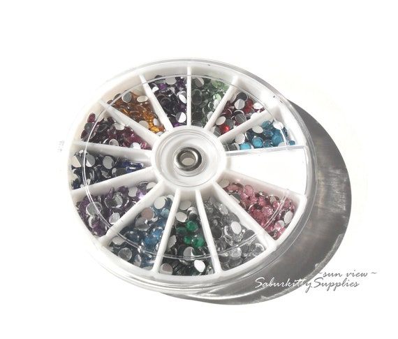 Nail Art Rhinestones 4mm 12 Color 1000pc red blue green yellow pink clear round cabochon wheel 3d nail decor