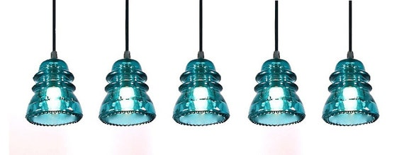 Set of 4 Blue Insulator Pendant Lights - The Original Authentic Insulator Light
