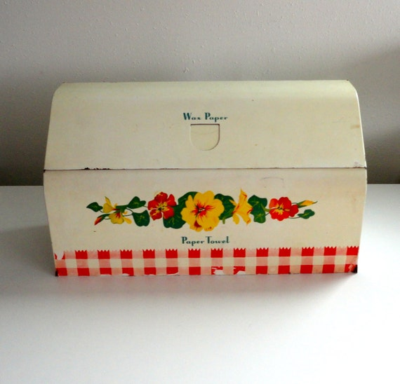 Wax Paper // Tin Foil // Saran Wrap Holder or Paper Towel Holder with Flowers and Plaid Chippy Paint Cottage Chic Farm Syle Decor