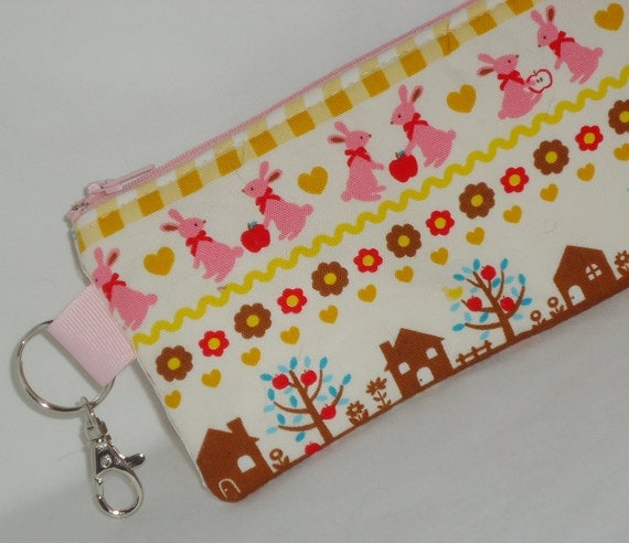 Bunny and Squirrel Pencil Case --- w/Swivel Clip and Key Ring