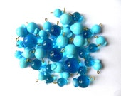 supplies,Beads - New sky blue 30 PCS HOOKED CANDIES glass beads handmade in 3 sizes