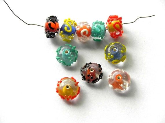 supplies,Beads -  1/4 Pound .Best quality beautiful handmade COLOR INSIDE spacer 20 mm  lampwork glass  beads color mix.