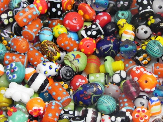 2 Pounds SUPER DELUX lampwork beads mix  LMP01 handmade