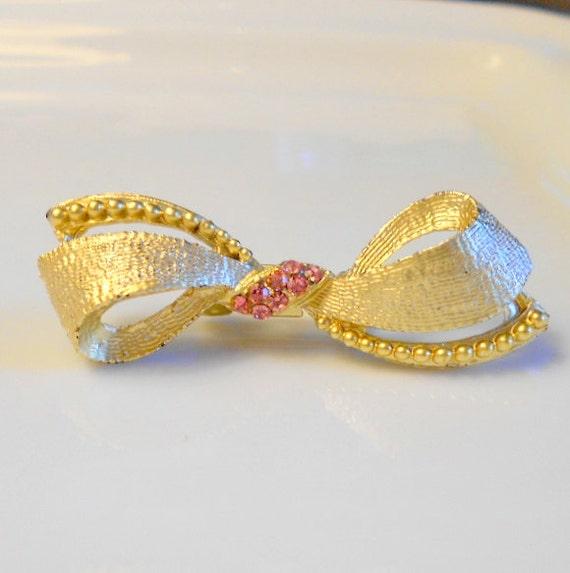 Vintage Tied Bow Brooch, Gold Tone Pink Rhinestones Brooch Pin