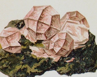 Analcite Chabazite Crystal Stone Mineral Vintage Lithograph Edwardian Geology Print To Frame 36