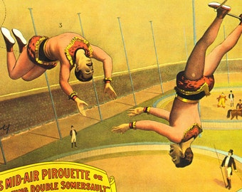 Flying Clarkonians Gymnast Barnum & Bailey Circus Poster 1900s Full Color Advertisement Lithograph To Frame