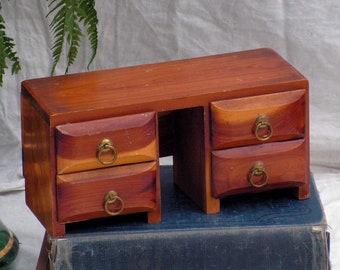 Vintage Doll Furniture Desk Cedar Wood Jewelry Box 1960s Acadia National Park Maine USA Souvenir