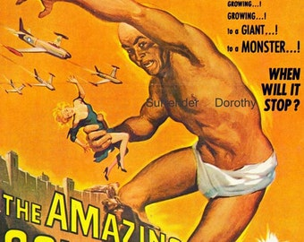 Amazing Colossal Man  1950s Sci Fi Horror Movie Poster Full Color Advertisement Lithograph To Frame Science Fiction