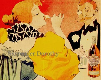 Otard Dupuy Cognac Georges Meunier 1896 Paris France Vintage Victorian Advertisement Lithograph Poster To Frame