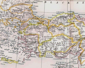 Turkey Map Antique Aquatint Copper Engraving 1892 Large Vintage Middle East Cartography Victorian Geography Art To Frame