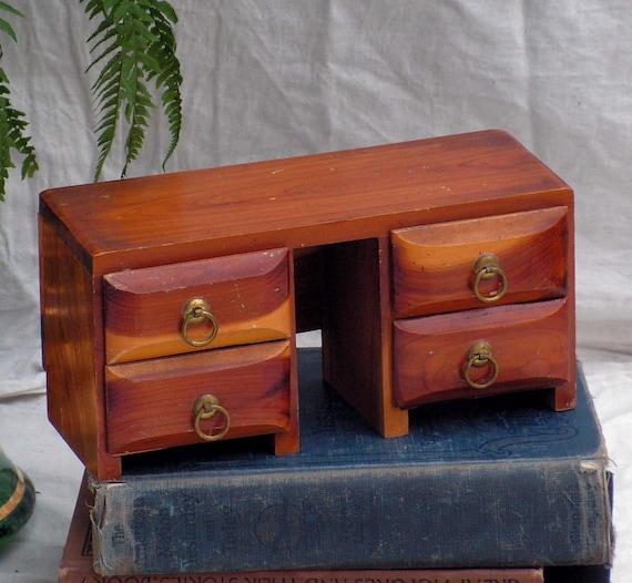 Vintage doll furniture desk cedar wood jewelry box 1960s for Cedar park furniture