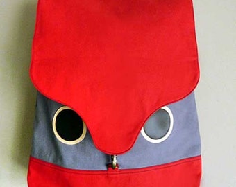 Owl Backpack - Red Laptop Backpack - Owl Diaper Bag Backpack - Unisex Backpack - Hoot The Owl BackPack - Red and Grey Color
