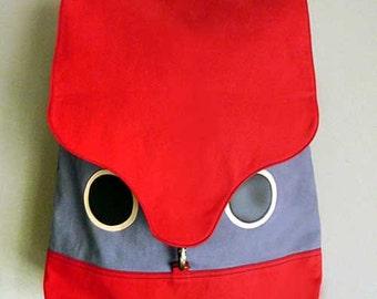 Owl Backpack, Owl Bag, Red Backpack, Laptop Backpack, Diaper Backpack, Unisex Backpack, Ladies Backpack, Womens Backpack - Red Gray Color