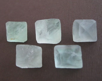 5 Icy Fluorite Octahedron Double Pyramid Raw Stone Nugget Cabochon