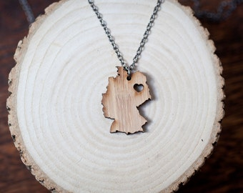 Germany Necklace - Bamboo Germany Country Necklace Silver Necklace Germany Charm Wooden Germany With Heart