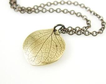 Hydrangea Petal Necklace, Brass Flower Petal Necklace, Botanical Necklace