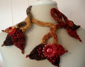 Sculptured Knit Necklace Statement Bridal Necklace Fall Colors Unique One of a Kind