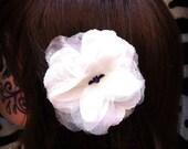 White Iridescent Rose Flower Hair Clip w/ Spooky Bat Center