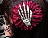 Skeleon Hand Red Flower Hair Clip