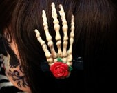 Skeleton Hand Hair Clip with Red Rose
