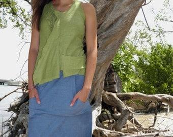 Hemp skirt custom made and hand dyed // organic clothing // eco-friendly // hemp clothing // Roo pocket