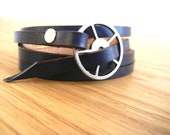 Leather Wrap Bracelet in Navy Blue leather with Large Silver buckle