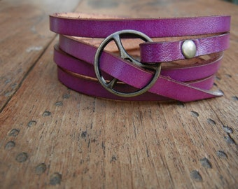 Leather Wrap Bracelet in Violet leather with Small Brass buckle