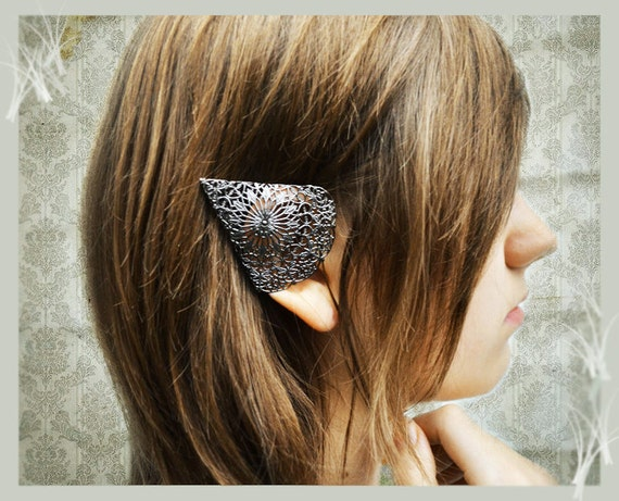 Dark Elf Ear Cuffs Ornate Black Pewter Filigree Elven Ear Tip Covers Two piece set Non  pierced No pierce