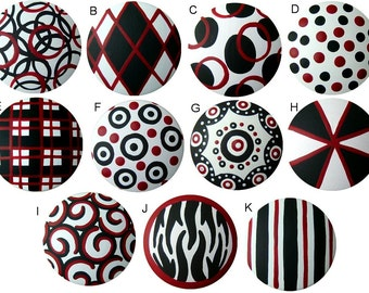 Black White Red Abstract Hand Painted Wood Dresser Decorative Art Kids Nursery Teen Wooden Functional Art Drawer Knobs Choose Your Designs