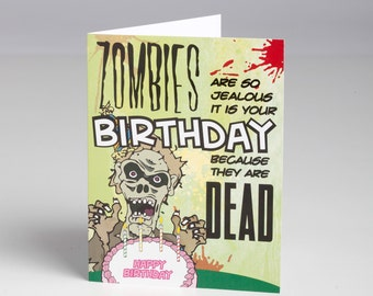 Jealous Zombie Birthday Card with Envelope