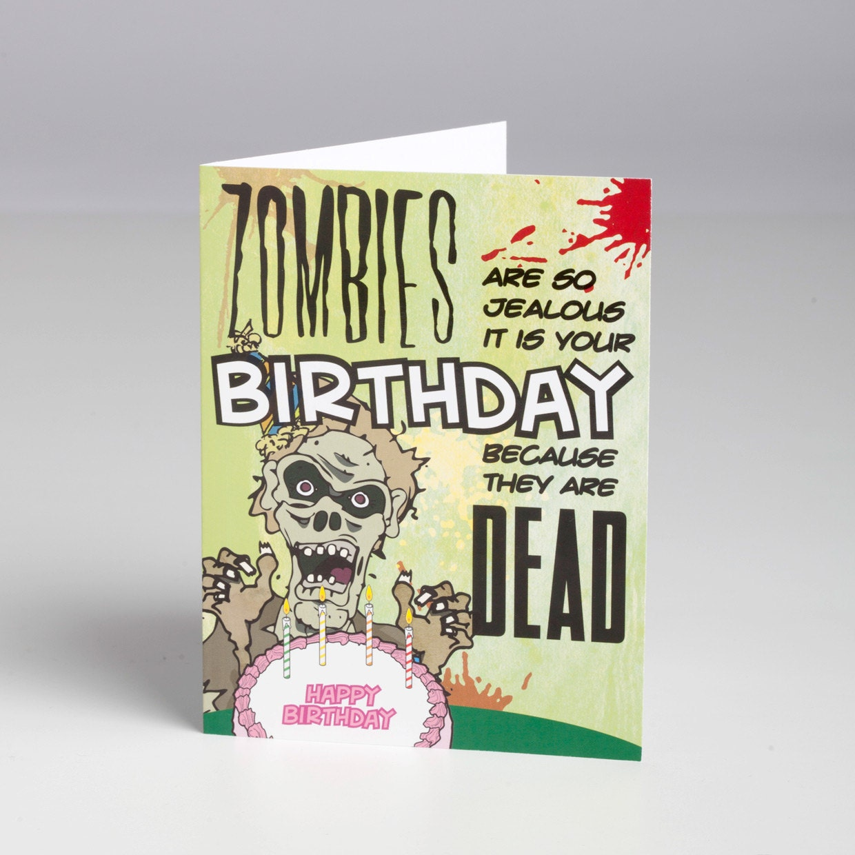 Jealous zombie birthday card with envelope zoom bookmarktalkfo Choice Image