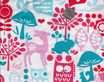 Forest Life in Aqua - Michael Miller cotton quilt fabric - fat quarter