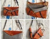flux split bag in rust orange and felt