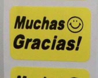 LAST ONES - 100 'Muchas Gracias' stickers, spanish thank you, smiley face, 1.5 inch