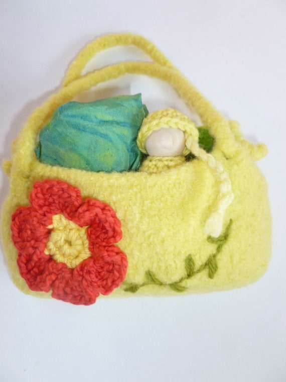 The Princess and the Pea set felted bag wood peg doll