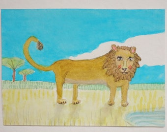 Oh Henry at The Waterhole - Original ACEO