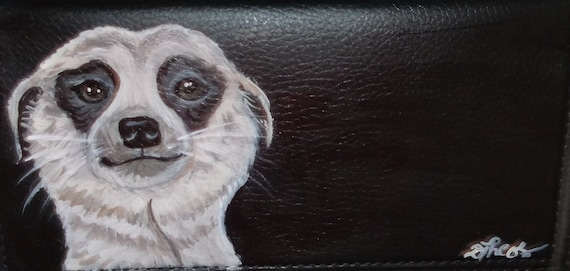 Meerkat Hand Painted Leather Checkbook Cover