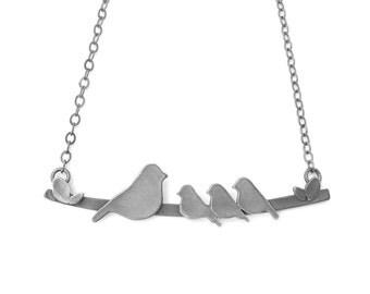 Original Mother Bird on a Branch Mom Necklace with Mama  & 3 Baby Birds designed by Rhonda Wyman! - DARK GREY FINISH