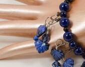 Knitting Row Counter Stitch Marker Blue Bracelet